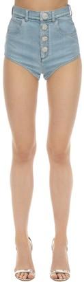 Alessandra Rich Cotton Denim Shorts W/crystals Button