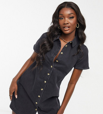 Asos Tall ASOS DESIGN Tall soft denim smock shirt dress in washed black