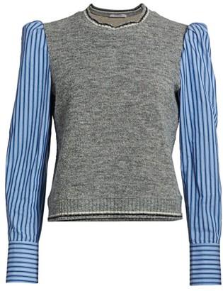 Derek Lam 10 Crosby Mixed-Media Puff-Sleeve Sweater