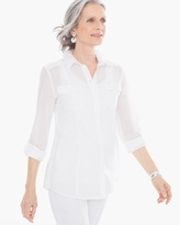 Chico's Cotton Voile Shirt in Optic White