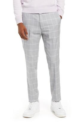 Topman Skinny Fit Flat Front Check Men's Pants