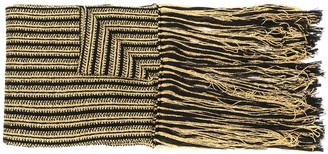 Saint Laurent Striped Knit Fringed Scarf
