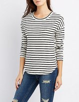 Charlotte Russe Striped Drop Shoulder Top