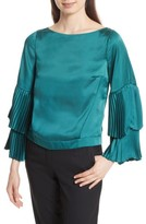 Tracy Reese Women's Pleated Bell Sleeve Boxy Blouse