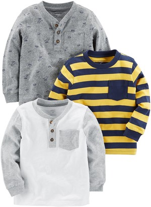 Simple Joys by Carter's 3-pack Long Sleeve Shirt T Multicolour (Gray