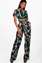 boohoo Hannah Mixed Print Crop & Trouser Co-ord