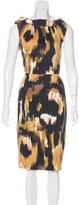 David Meister Abstract Print Sheath Dress