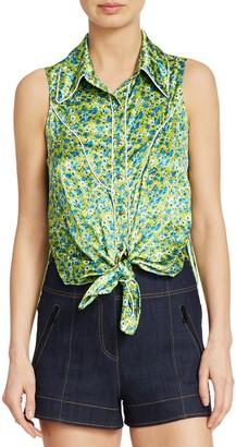 Cinq à Sept Leon Floral Tie-Front Sleeveless Blouse