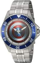 Marvel Men's 'Captain America' Quartz Stainless Steel and Alloy Casual Watch, Color:-Toned (Model: WMA000011)