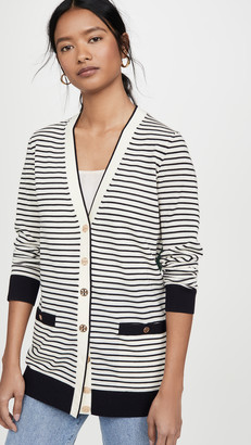 Tory Burch Striped Oversized Madeline Cardigan