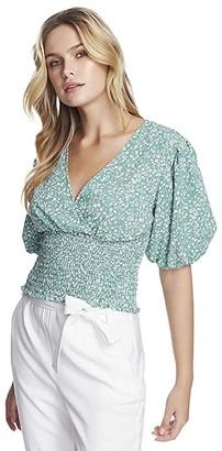 1 STATE Short Sleeve Folk Silhouette Floral V-Neck Smocked Waist Top (Fresh Grass) Women's Clothing