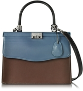Rodo Black, Blue and Chocolate Nappa Leather Top Handle Paris Bag