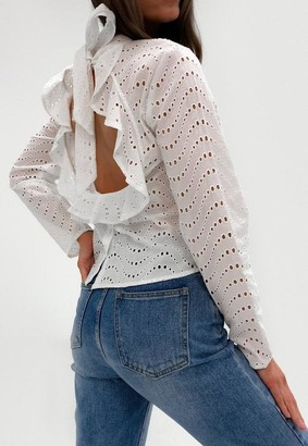 Missguided White Broderie Anglaise Long Sleeve Open Back Blouse
