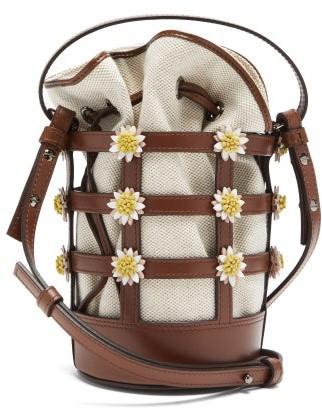 Fabrizio Viti - Miss Daisy Leather And Canvas Bucket Bag - Brown Multi