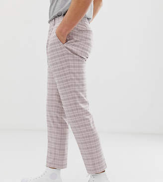 Noak skinny fit cropped trousers in check with pleats-Pink