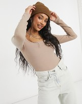 Thumbnail for your product : New Look square neck ribbed t-shirt in mink