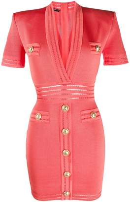 Balmain V-neck short-sleeved dress