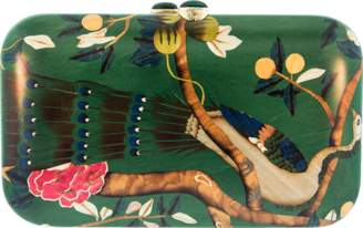 Silvia Furmanovich Marquetry Green Peacock Clutch