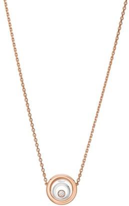 Chopard Happy Spirit Diamond, 18K Rose & White Gold Double Circle Pendant Necklace