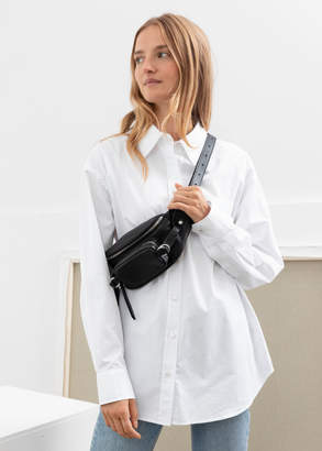 And other stories Oversized Pearl Button Cotton Shirt