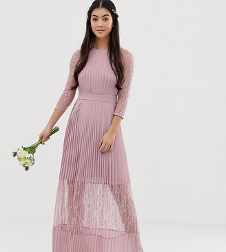 TFNC Petite Petite bridesmaid exclusive pleated maxi dress with lace insert in pink
