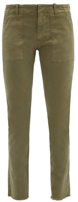 Nili Lotan Jenna Cropped Cotton-blend Slim-leg Trousers - Khaki
