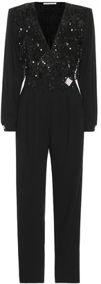 Alessandra Rich Embellished stretch wool jumpsuit