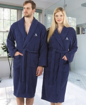 Linum Home 100% Turkish Cotton Personalized Terry Bath Robe - Navy Bedding