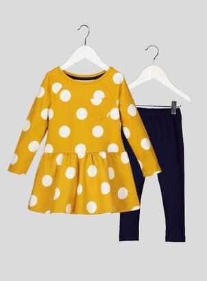 Tu Yellow Polka Dot Dress and Leggings Set