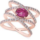Effy Ruby (7/8 ct. t.w.) and Diamond (1 ct. t.w.) Ring in 14k Rose Gold