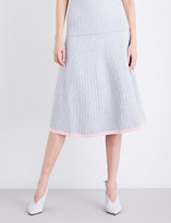 Victoria Beckham Scalloped-hem high-rise stretch-wool skirt