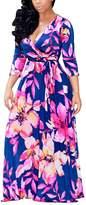 Akmipoem Women 3/4 Sleeve Digital Printing Self-tie Plus Size Surplice Swing Maxi Dress