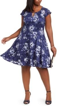 City Studios Trendy Plus Size Floral-Print Lace A-Line Dress