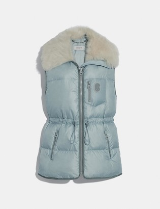 Coach Puffer Vest With Removable Shearling Collar