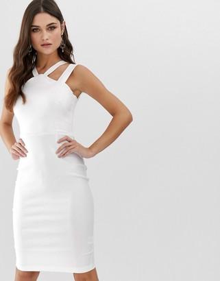 Vesper strappy front and back midi pencil dress in white