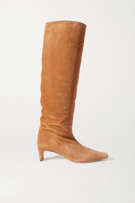 STAUD Wally Suede Knee Boots - Tan