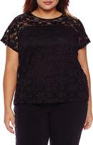 Boutique + + Short Sleeve Crew Neck T-Shirt-Plus