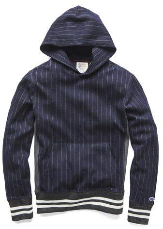 Todd Snyder + Champion Champion Wool Wide Stripe Popover Hoodie in Navy