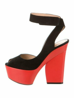 Celine Suede Colorblock Pattern Sandals Black