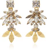 Nicole Romano 18K Gold Triple Leaf Crystal Earrings