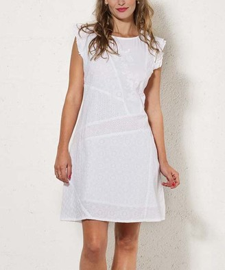 Coline Women's Casual Dresses WHITE - White Embroidered Eyelet Tie-Back Shift Dress - Women