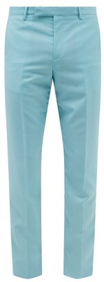 Paul Smith Slim Fit Wool Blend Tailored Trousers - Mens - Light Blue
