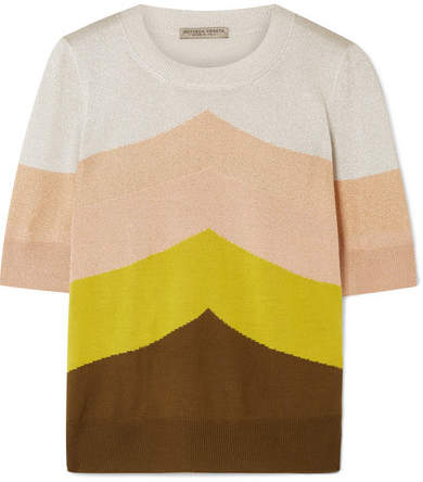 Bottega Veneta Color-block Metallic Wool-blend Sweater - Yellow