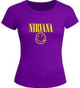 Nirvana Smiley Face Printed Tops T shirts Nirvana Smiley Face Printed For Ladies Womens T-shirt Tee Outlet