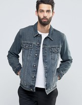 Asos Slim Fit Denim Jacket In Blue Wash With Tint