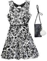 Beautees Belted Dress with Necklace & Accessory Bag (Big Girls)