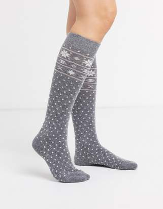 Jonathan Aston Exclusive knee high fairisle spot cosy sock in grey