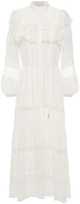 Zimmermann Lace-paneled Ruffled Swiss-dot Georgette Midi Dress