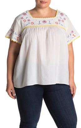 Catherine Malandrino Short Sleeve Embroidered Blouse (Plus Size)
