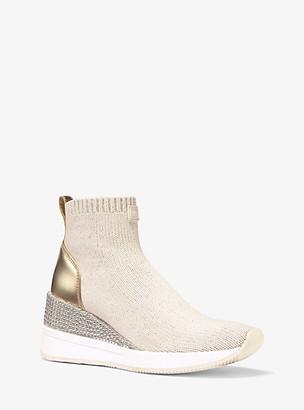 Michael Kors Skyler Embellished Metallic Stretch Knit Sock Sneaker
